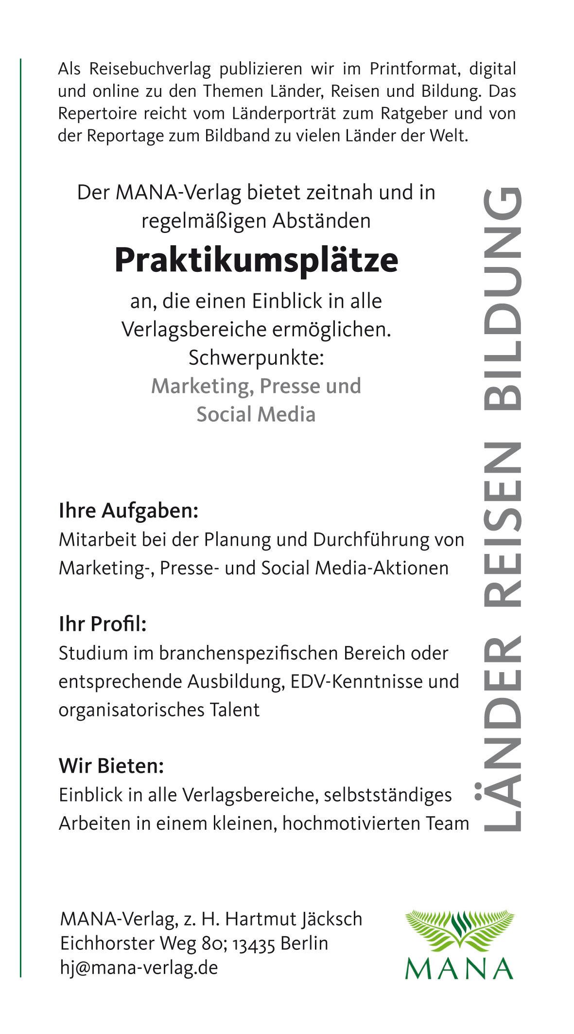 Job, Volontariat und Praktikum - MANA-Verlag