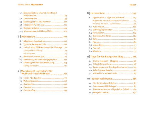 Work & Travel in Neuseeland, Blick ins Buch