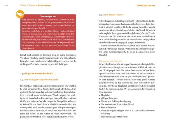 Work & Travel in Australien, Blick ins Buch, ein Ratgeber von Katharina Arlt und Melanie Schmidt